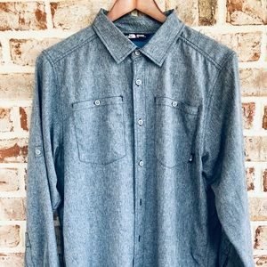 NORTH FACE bluish-gray button down. LARGE